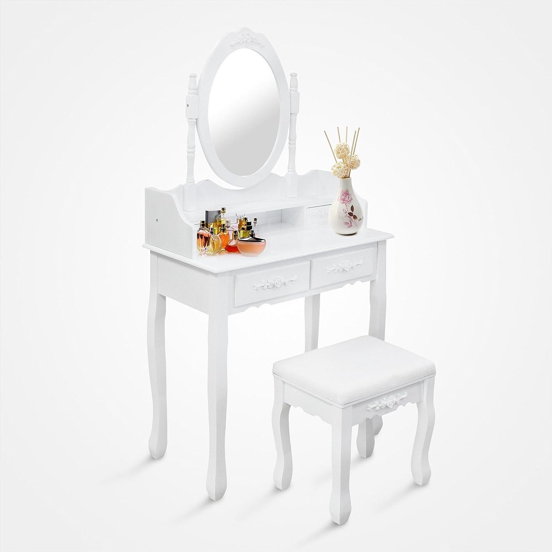 Domaier - Table de Maquillage - Coiffeuse - 4 tiroirs - miroir oval moulé - Blanc - Matériau: Bois de Paulownia