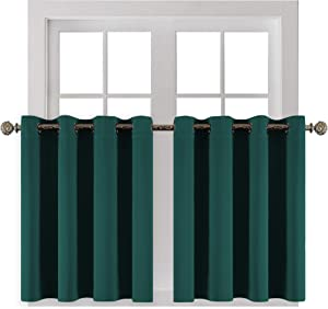 YGO Window Curtains Valances 36 inch Length Short Blackout Drapes Light Block Tier Valances Soft Fabric Thermal Drapery Blinds Grommet Top Home Decoration 52 x 36 in Hunter Green Pack of 2
