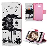 HTC One M8 Case Cover - Lanveni PU Leather Wallet Flip Cover Bookstyle Cell Phone Hoslter with Printing Design & Magnetic Closure & Card Slots & Stand Function Protective Cover for HTC One M8 , Pattern-1