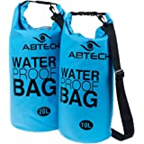 Dry Bags Waterproof Set of 2 ABTECH - 10 & 20 Liters - for Boating, Camping, Kayaking, Swimming, and Watersports