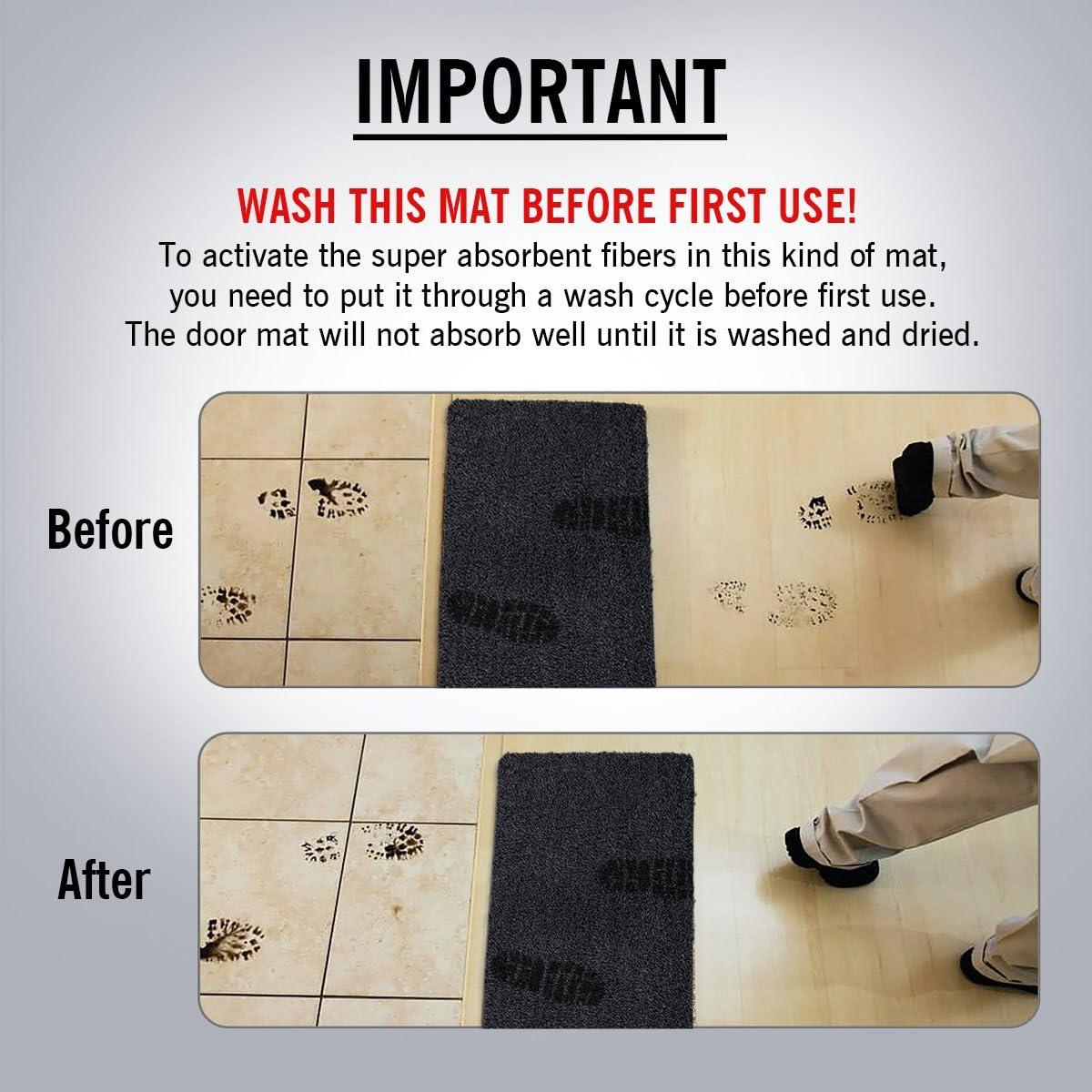 MAYSHINE/® 45x75 cm Anti-D/érapant Paillasson Tapis de Porte en Coton Boue Tapis dEntr/ée Chaussures Grattoir Plancher Int/érieur//Ext/érieur
