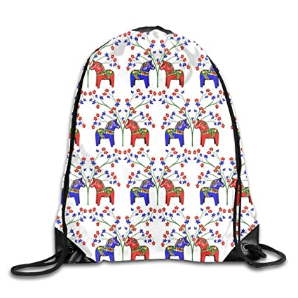 6dd1ac37c2f9 Amazon.com | Floral Swedish Dala Horses UpgradedDrawstring Backpack ...