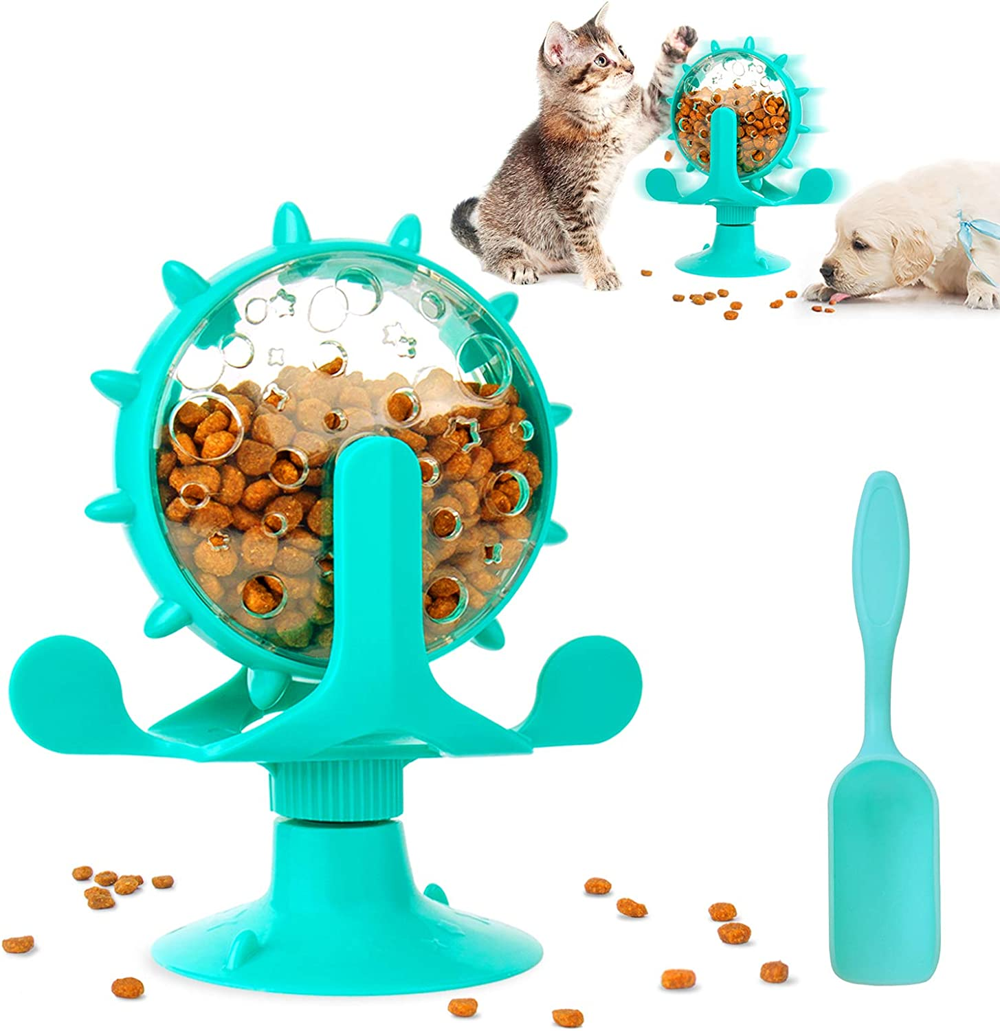 Icwin Dog Puzzle Toys,Cat Slow Feeder Windmill Treat Dispensing Dog Toys Powerful Suction Cup Dog Treat Toy Cat Puzzle Feeder Interactive Dog Toys Cat Toys