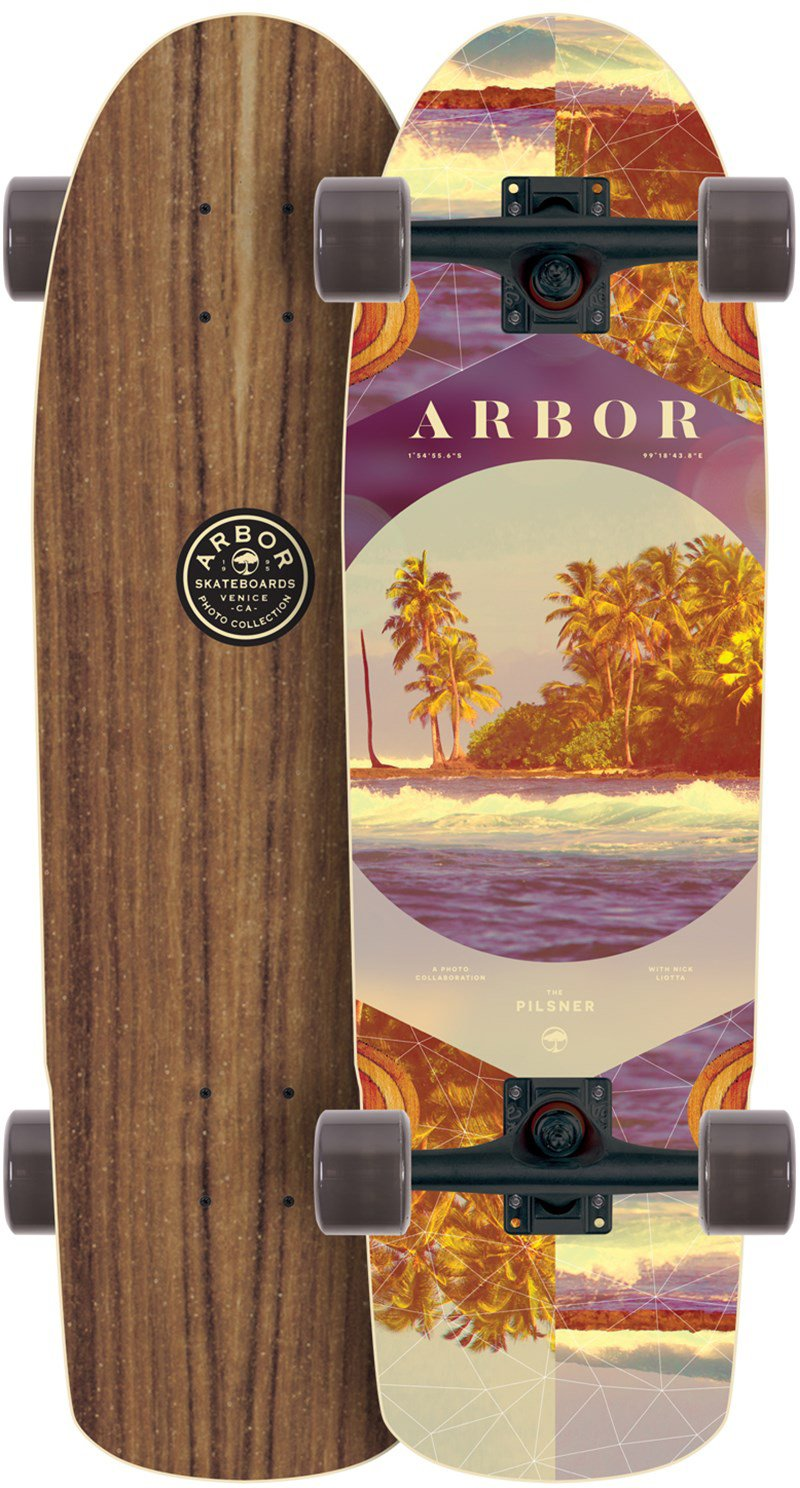 Arbor Pilsner Walnut Photo Longboard Complete Sz 29 x 8.25in by Arbor