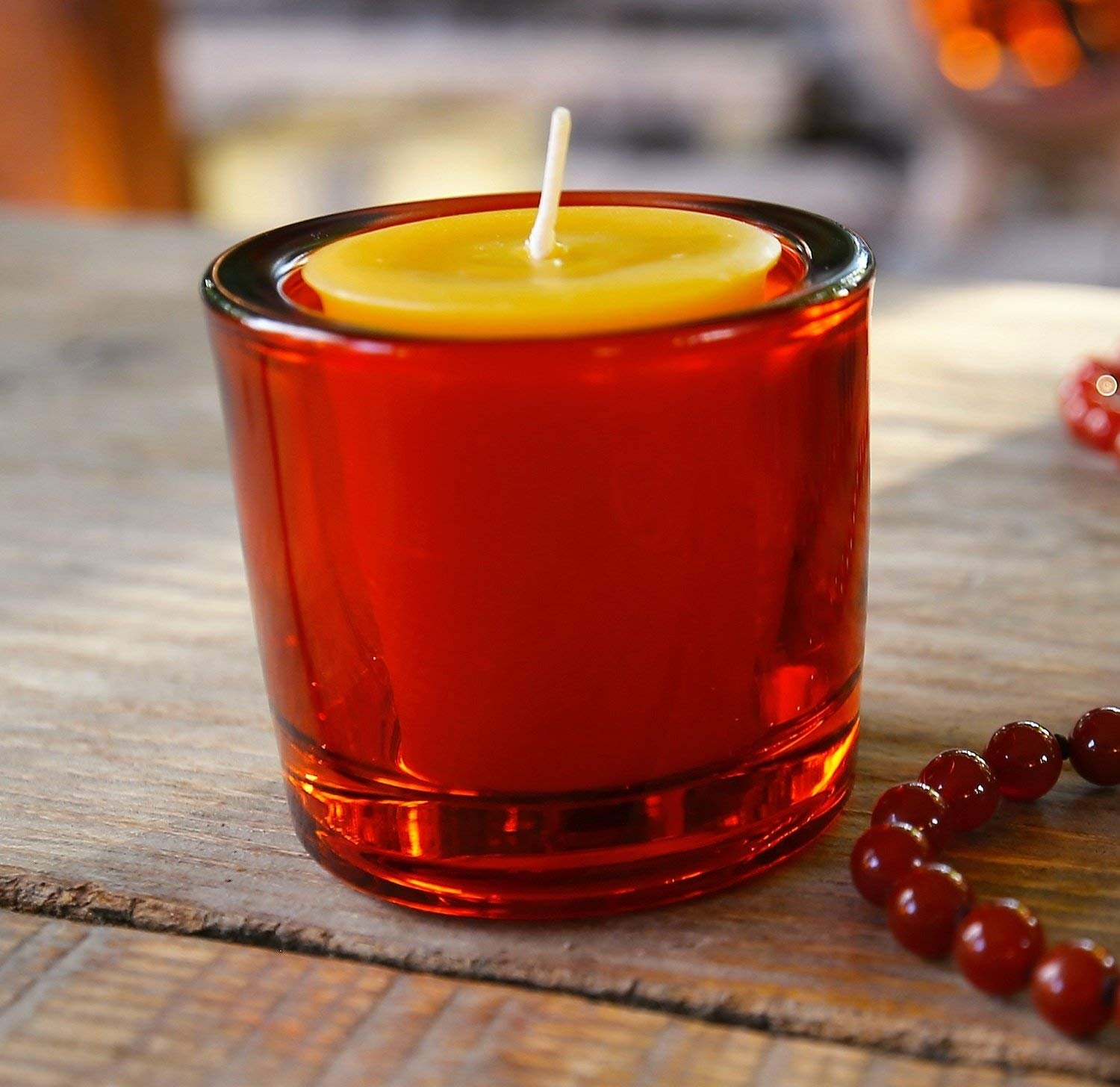 Bluecorn Beeswax Heavy Glass Votive and Tea Light Candle Holders (12, Assorted)