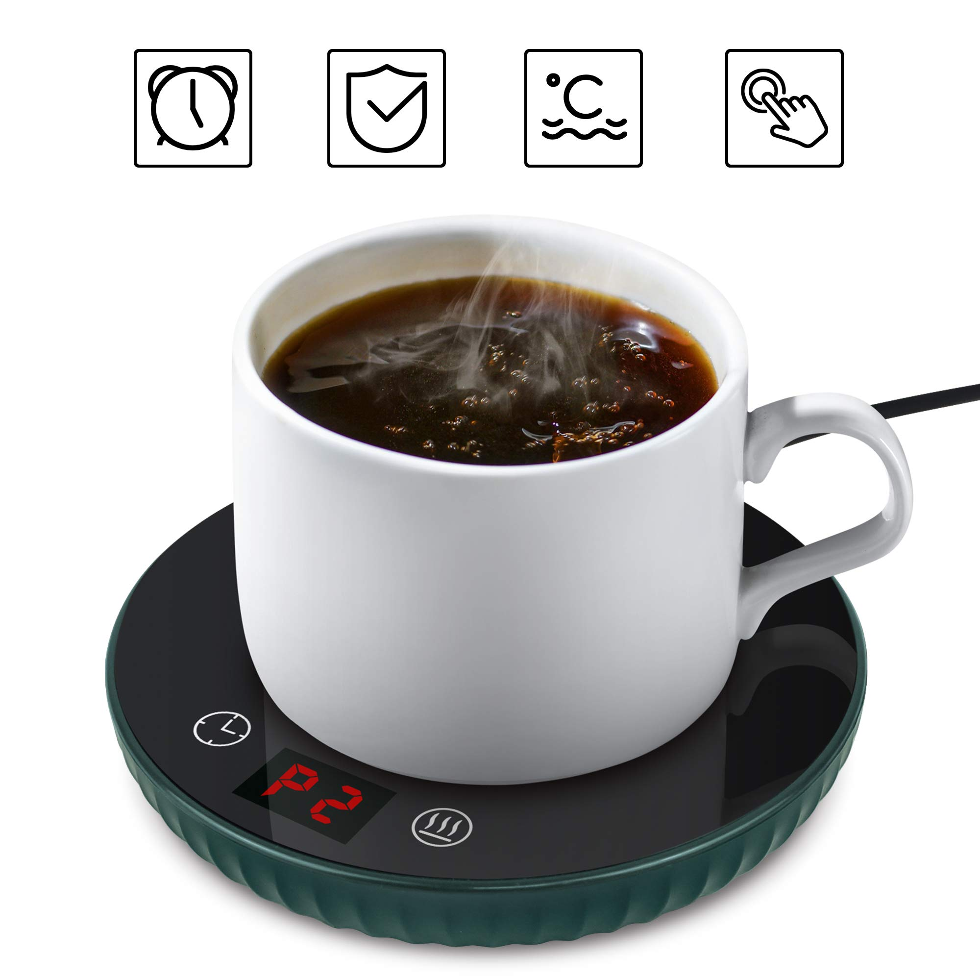 Coffee Warmer with Auto Shut Off Warm Up Cold Water to Hot and Keep Hot Water Adjustable 120℉-140℉(40-60℃) Electric Beverage Mug Warmer for Home Office Desk Use, Candle Wax Cup Heater Heating Plate, Smart Slim and Security