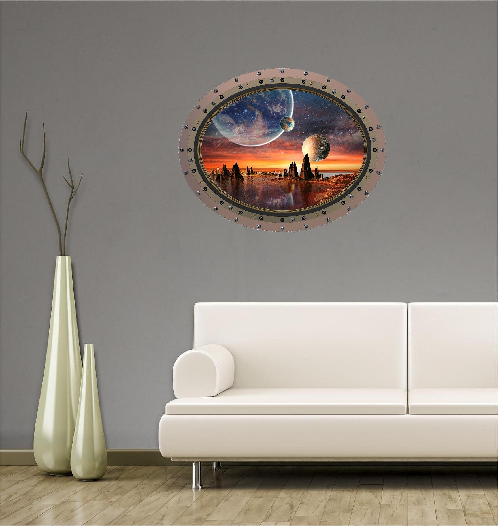 36'' Porthole Outer Space Ship Window View ALIEN PLANET #3 OVAL RIVETS Wall Sticker Kids Decal Baby Room Home Art Décor Den Mural Man Cave Graphic LARGE