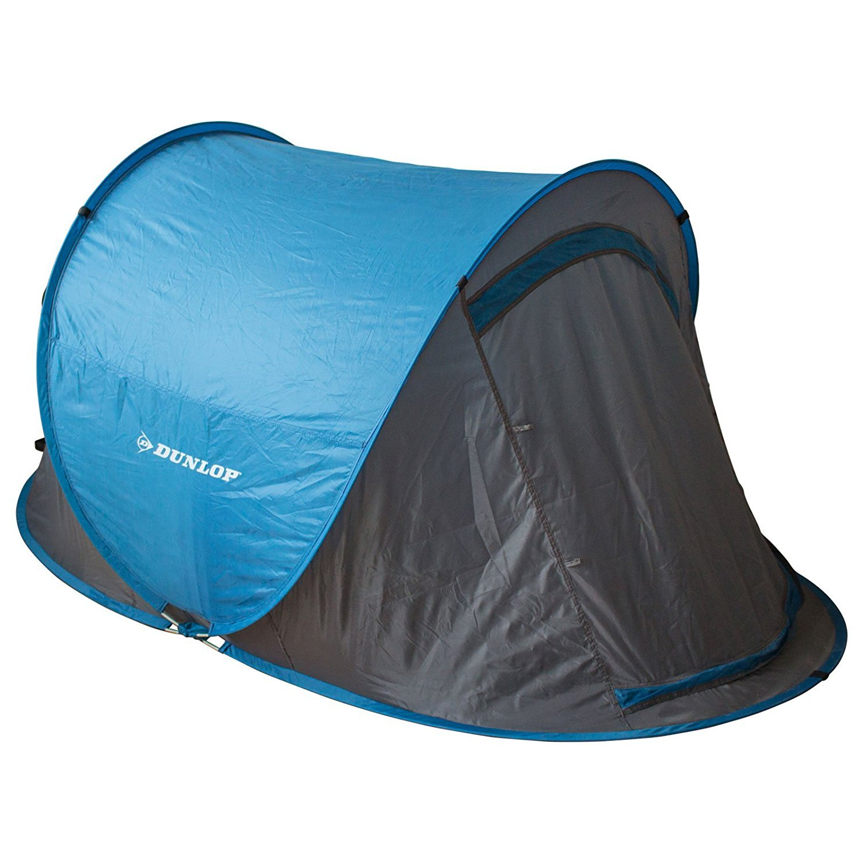 Dunlop - tienda de campaña de montaje instantáneo, para 1 persona, 220 x 120 x 90 cm, azul/gris, con bolsa de transporte: Amazon.es: Deportes y aire libre