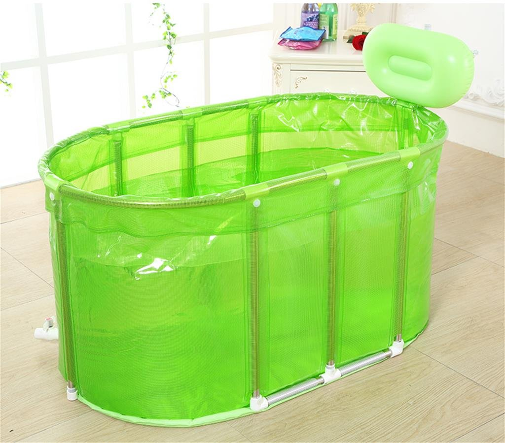 Green KTYX Sauna Bath Dual Use Large Size Folding Bath Bucket Bath Bucket Inflatable bathtub (color   GREEN)