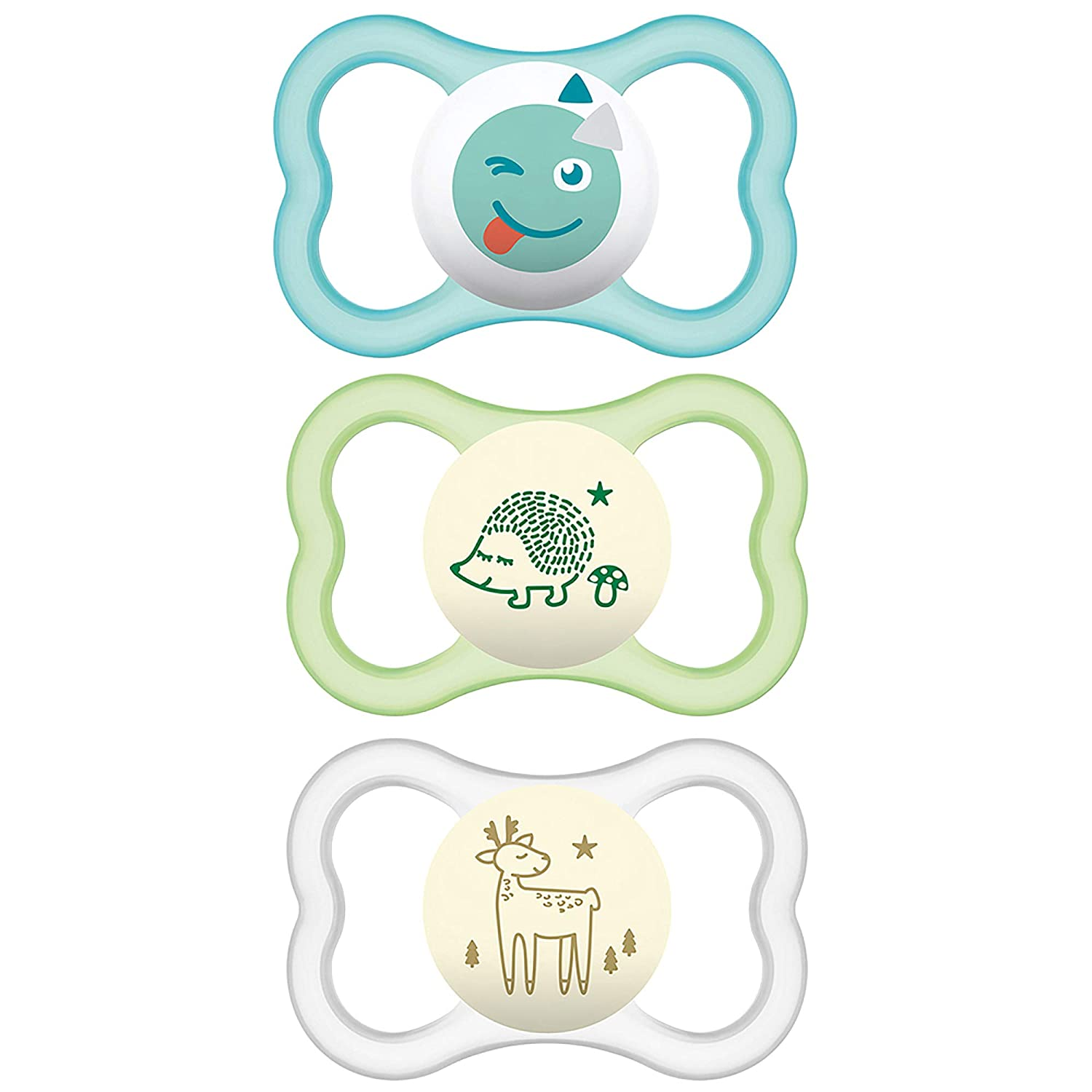 MAM Sensitive Skin Pacifiers, Baby Pacifier 6+ Months, Best Pacifier for Breastfed Babies, Air Night & Day' Design Collection, Unisex, 3Count, Multi