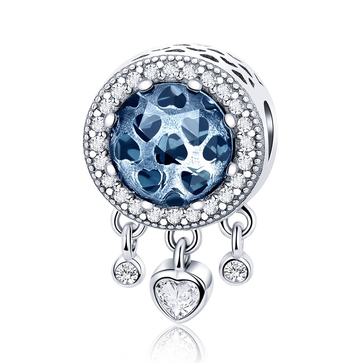 Forever Queen Dream Catcher Charm Genuine 925 Sterling Silver Dangle Heart Radiant CZ Crystal Bead fit Original Pandora Charm Bracelet and Necklace BJ09085