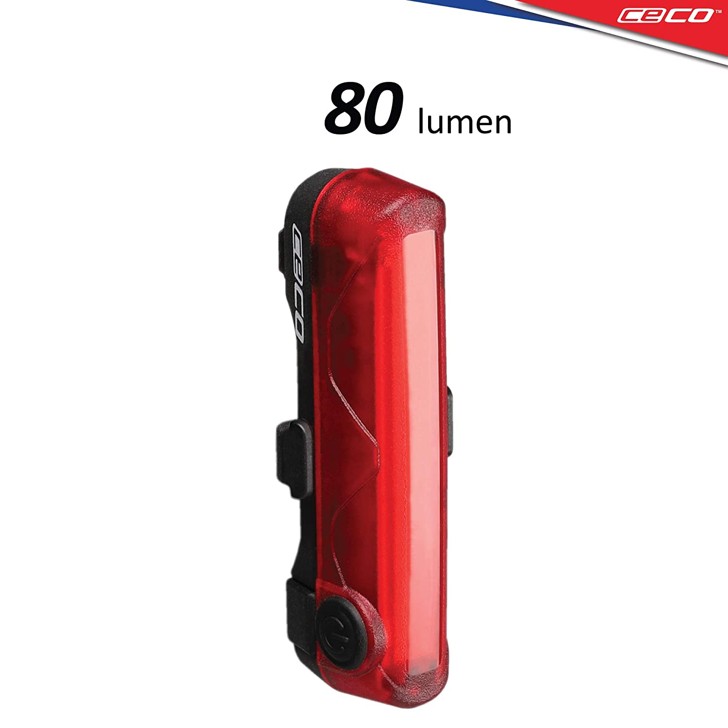 CECO-USA 80 Lumen USB Rechargeable Bike Tail Light – Super Wide Bright Model TC80 Bicycle Rear Light – IP67 Waterproof, FL-1 Impact Resistant – COB LED Red Safety Light – Pro Grade Bike Tail Light