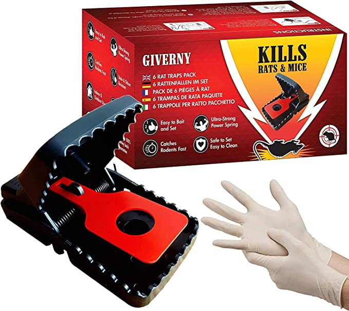 Giverny Trampa para Ratas & Ratónes (Paquete de 6) Atrapa a los Roedores, Fácil y Seguro, Rápido, Mata al Instante sin Sufrimiento-DE Regalo Guantes de látex-GARANTÍA Insecticida eficaz, Rojo