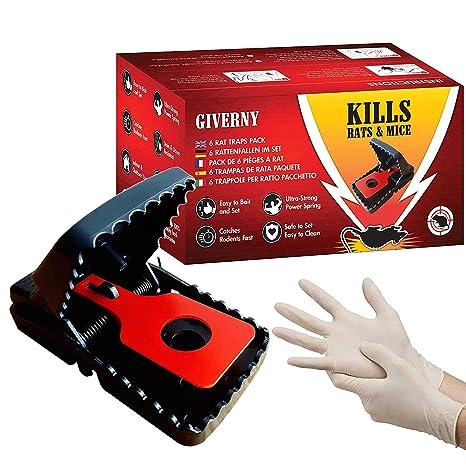 Giverny Trampa para Ratas & Ratónes (Paquete de 6) Atrapa a los Roedores, Fácil y Seguro, Rápido y eficaz, Mata al Instante sin Sufrimiento-DE Regalo ...