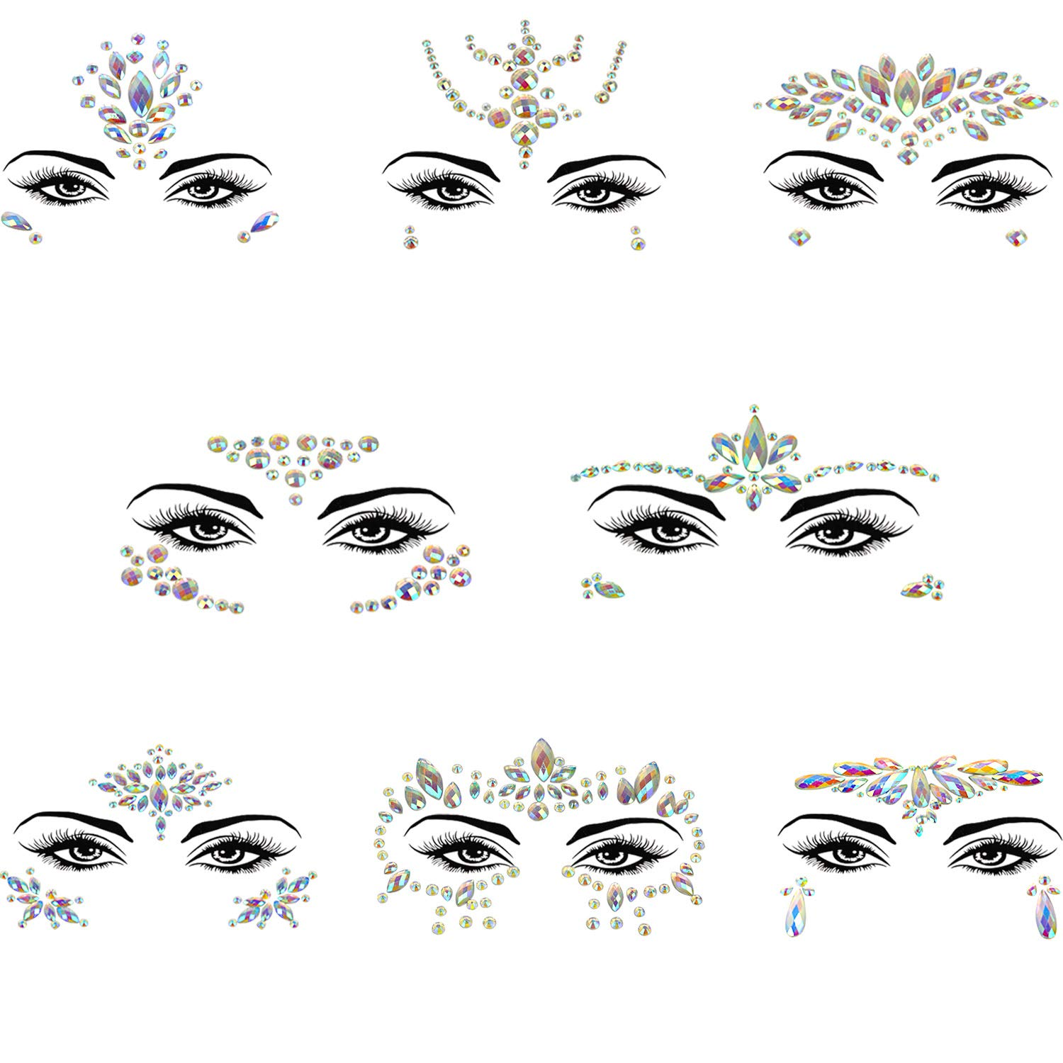Noctilucent Face Gems Mermaid Face Jewels Festival Luminous Body Jewels Glow In The Dark Rhinestones Rave Eyes Bindi Temporary Face Stickers for Festival Party (8 Sets Collection) by Cobinaan