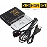 4K HDMI Switch, 5 In 1 Out HDMI Video Switch, 5-Port HDMI Splitter, Full 4K 2K Support HDMI Selector with IR Remote