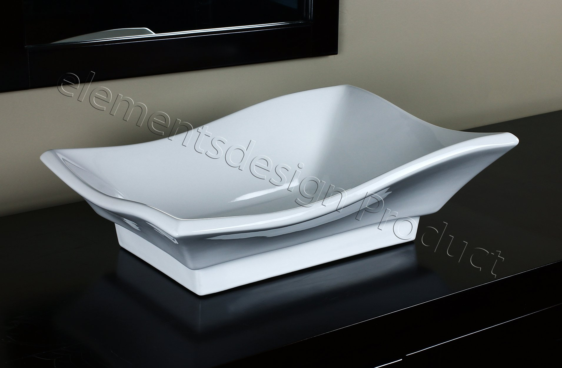 Bathroom White Ceramic Porcelain Vessel Vanity Sink 7459 + *FREE Pop Up Drain* by ELIMAX'S