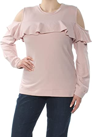 Polly /& Esther Womens Juniors Off-The-Shoulder Embroidered Pullover Top
