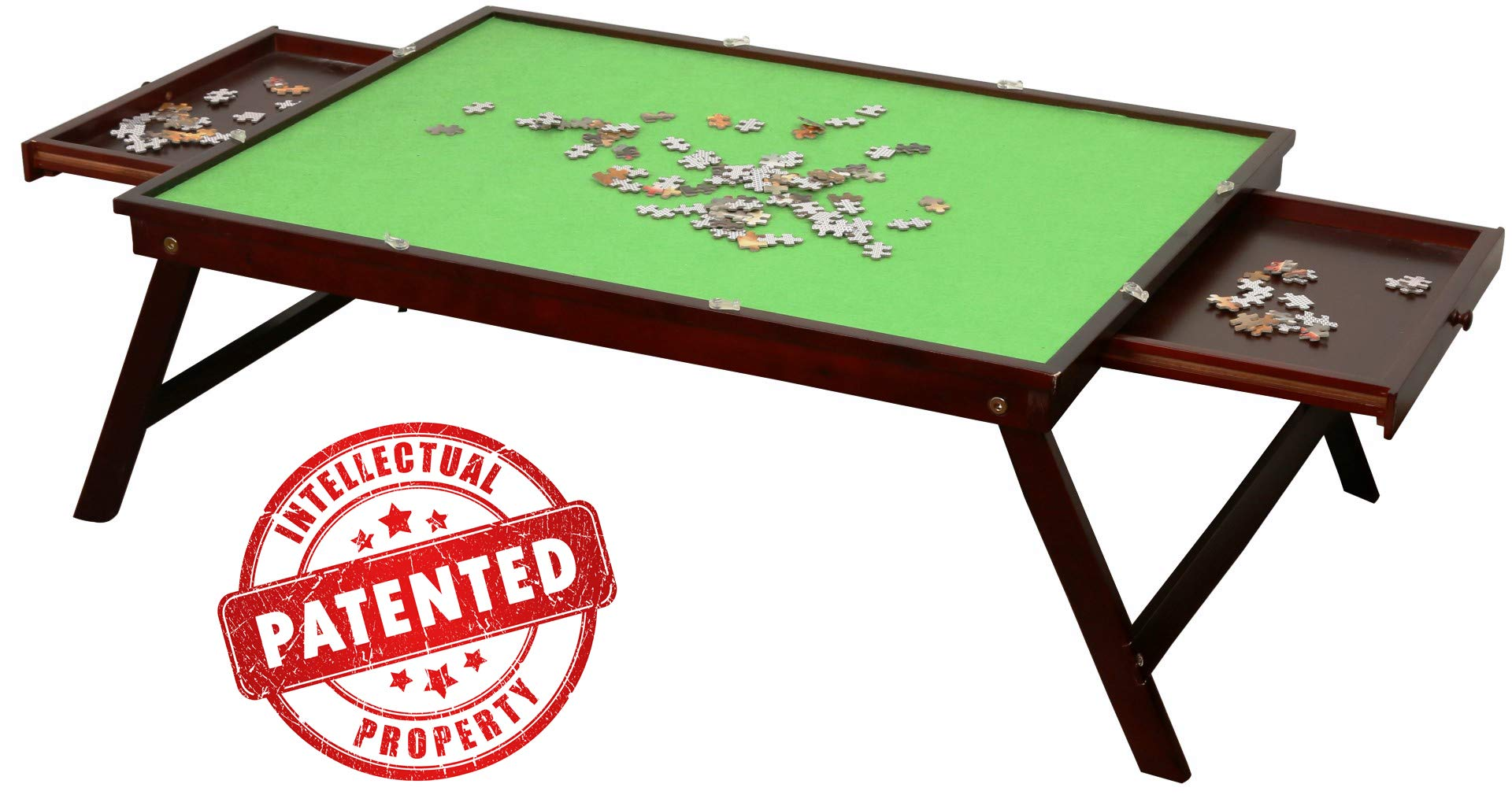 Wooden Jigsaw Puzzle Table for Adults & Kids, Collapsible Jigsaw Puzzle Table and Storage System, Portable Table for Puzzle Games with 2 Storage Drawers & Cover, Home Furniture - Puzzle 1000 Pcs by Shougui