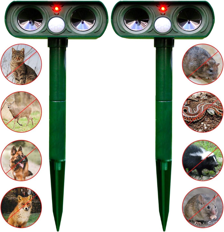 Ahuyentador Espantar Pájaros Gatos Perros Ratones Repelente Exterior De Animales Ultrasonidos Rayos Infrarrojos Guarda De Jardín Patio Huerto Verde
