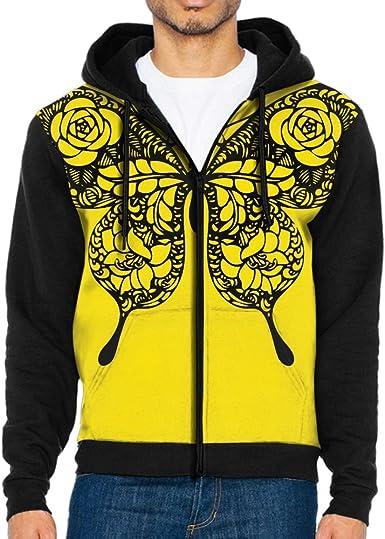 Cromoncent Men Casual Contrast Color Pocket Zip Fleece Coat Hooded Sweatshirts