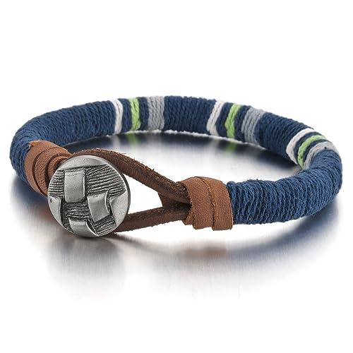 nuovi stili 6da99 3ded2 MunkiMix Lega Pelle Bracciali Bracciale Braccialetto Bangle Tono Argento  Blu Corda Uomo