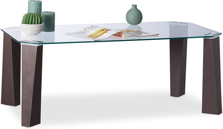 HLP 43,5 x 99,5 x 59,5 cm 2 Panneaux Peu /élev/ée 100 x 60 x 43 cm Dessus de Table Relaxdays Basse en Verre INOX Transparent//M/étallique