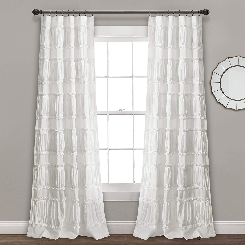 "Lush Decor Nova Ruffle Window Curtain Panel Pair, 84"" x 42"", White"