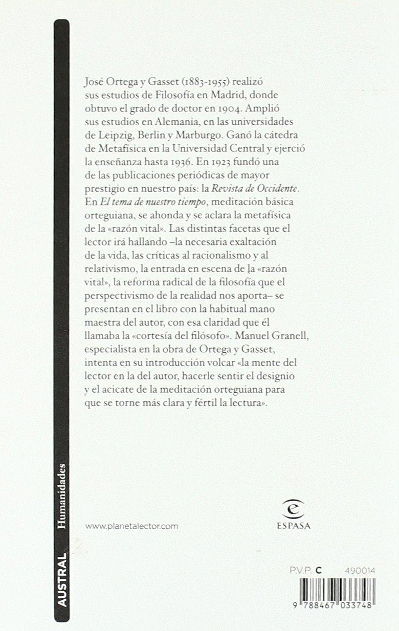 El tema de nuestro tiempo (Contemporánea): Amazon.es: Ortega y Gasset, José: Libros