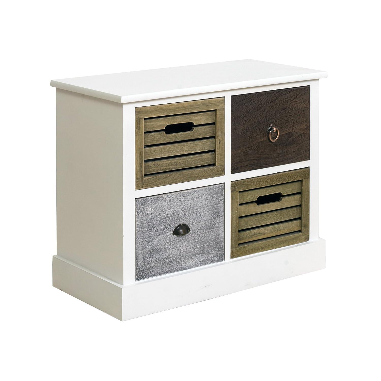 rebecca srl mobiletto cassettiera 4 cassetti legno bianco vintage retro shabby chic camera cucina cod