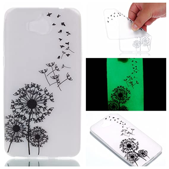 HuaWei Y5 2017 Case, Luminous Noctilucent Glow in the Dark Case Matching  Design Protective Phone Back Cover TPU Shell Case for HuaWei Y5 2017