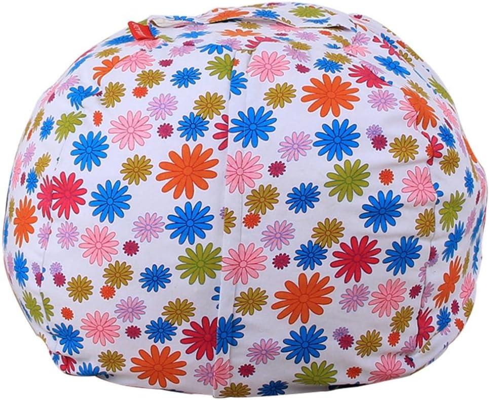 F, Diameter:41cm squarex Kids Stuffed Animal Plush Toy Storage Bean Bag Soft Pouch Stripe Fabric Chair