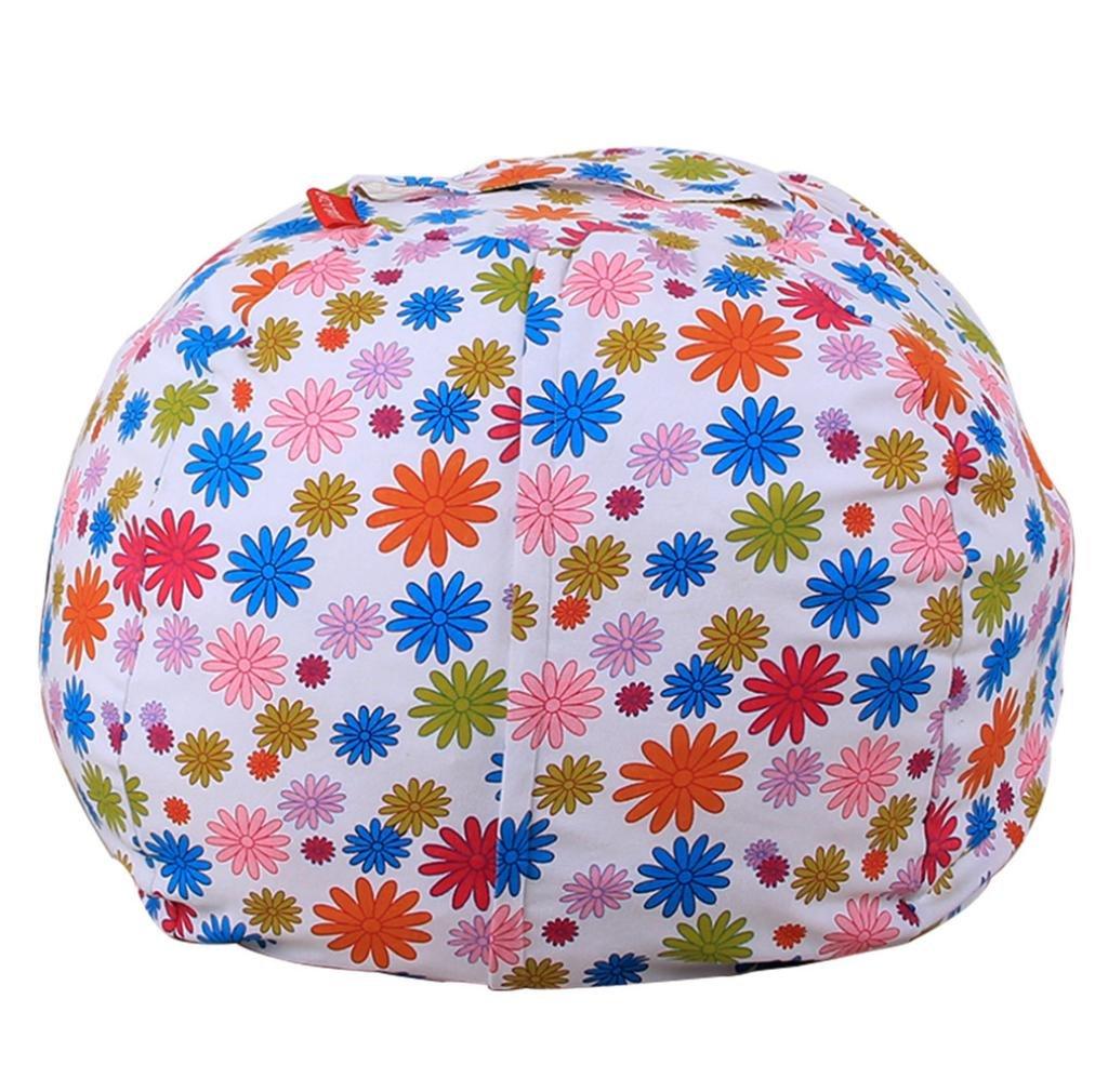 squarex Kids Stuffed Animal Plush Toy Storage Bean Bag Soft Pouch Stripe Fabric Chair (G, Diameter:41cm) Diameter:41cm)
