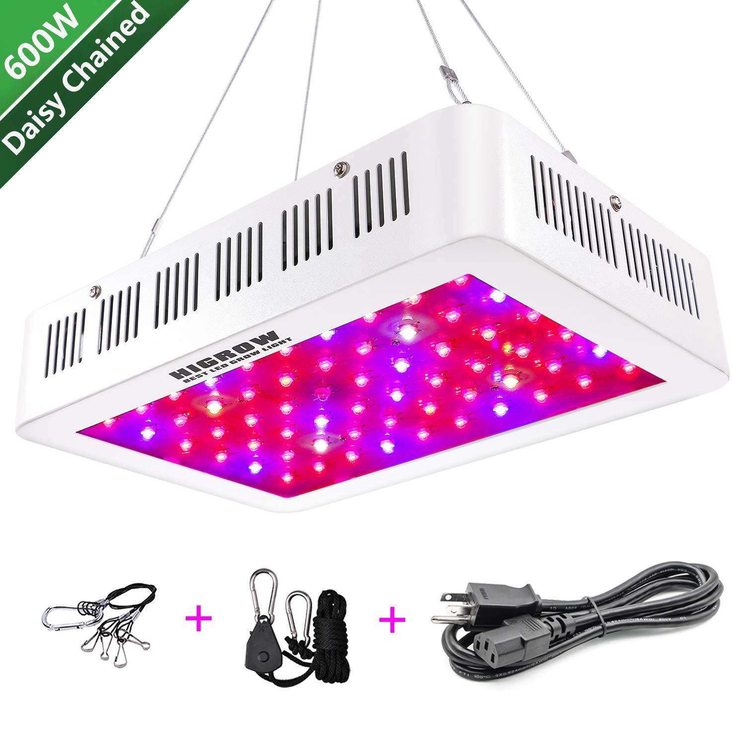 HIGROW 600W LED Grow Light, Full Spectrum Plant Light for Indoor Greenhouse  Hydroponics Plants Veg and Flower (10W LEDs 60Pcs)
