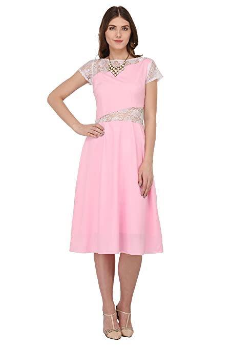 cf290b1549b Raas Prêt Women s Crepe Fit and Flare Dress (Light Pink