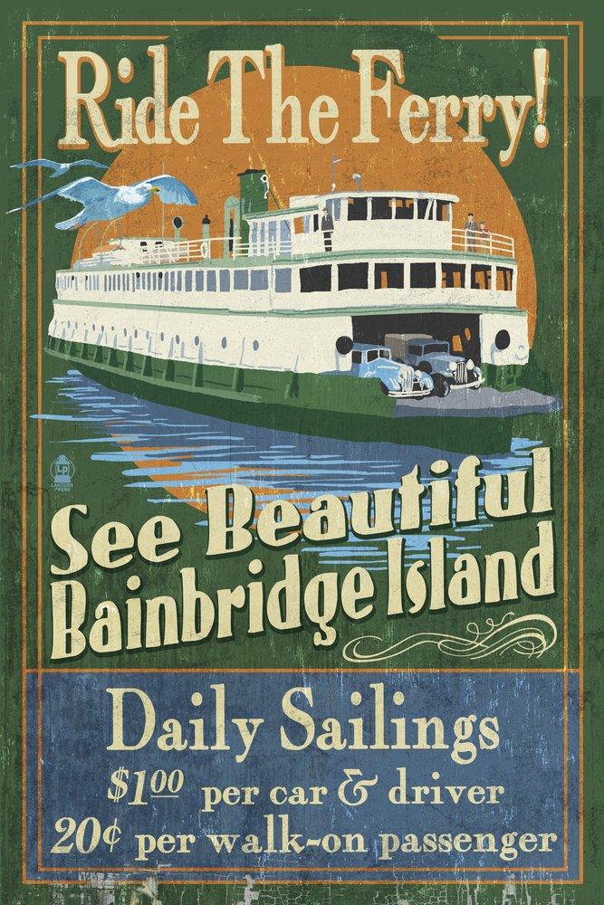 Bainbridge Island, Washington - Ferry Ride Vintage Sign (36x54 Giclee Gallery Print, Wall Decor Travel Poster)