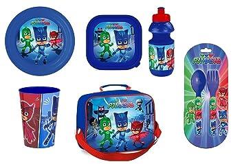 Set Pj Masks bolsa + plato + cubiertos + portavasos + botella de agua + vidrio