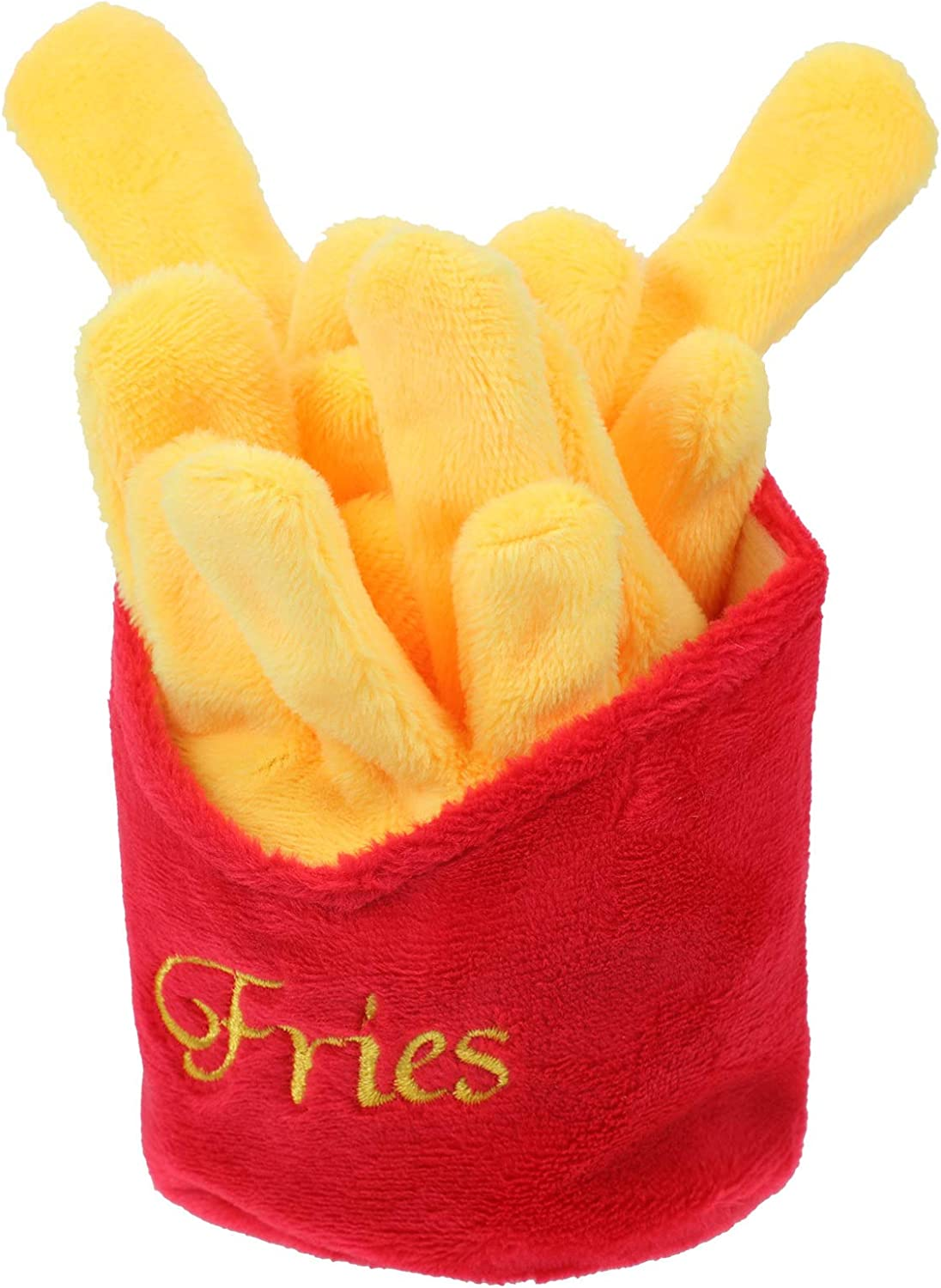 POPETPOP Dog Chew Toys Plush Stuffed Puppy Chew Toys- Shaped Plush Dog Toy Pack Hot Dog French Fries Plush Dog Toy for Small Medium Dogs