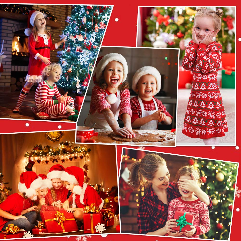 UNICOMIDEA Girls Ugly Christmas Sweater Dress Adorable Xmas Holiday Knit Dresses Fancy Skirt Frocks for Kids 4-8 Yrs