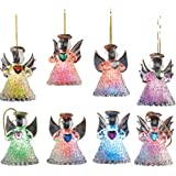 Color Changing Glass Angel Ornaments - Set of 8