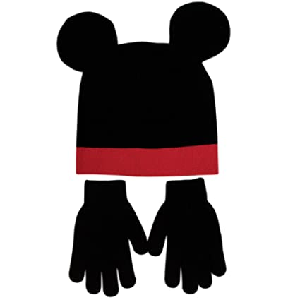 Disney Boys Mickey Mouse Beanie Hat and Gloves Set black red grey One Size 2cb992ba2702