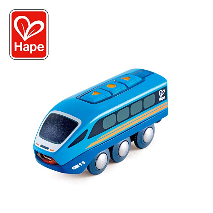 Hape Remote Control Engine Train | Kids Railway Toy, App or Button RC Vehicle with 5 Playable Sounds, Rechargeable Battery Feature, Blue