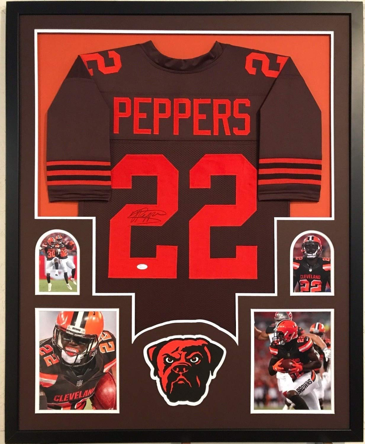 new concept 79e53 a0ad2 Jabrill Peppers Autographed Signed Custom Framed Cleveland ...