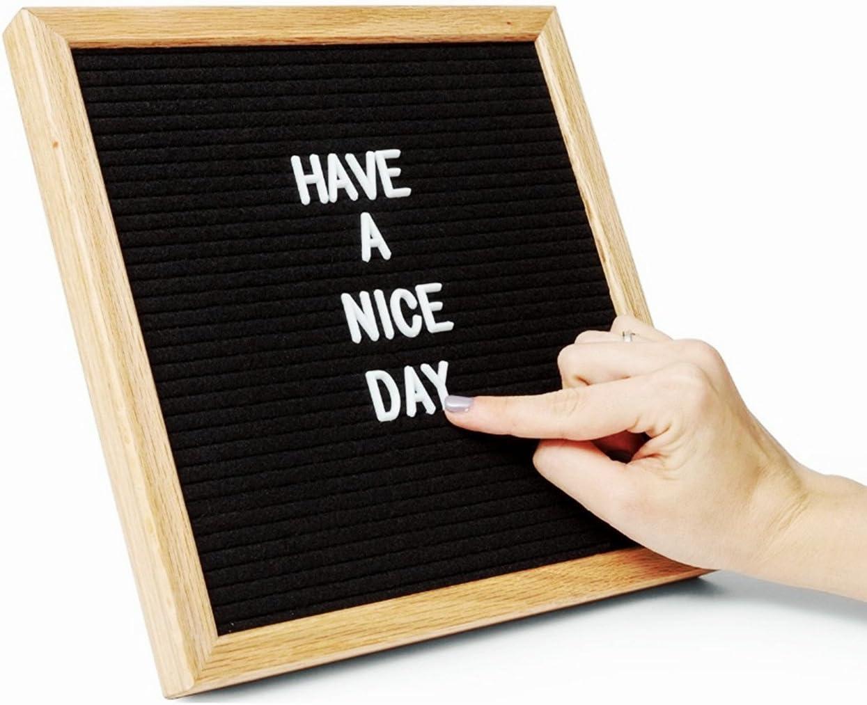 Letras de fieltro negro de 25,4 x 25,4 cm, 300 letras de plástico blanco intercambiables en bolsa de lona, marco de roble, letrero de mensaje, letrero, gran pantalla de regalo para el