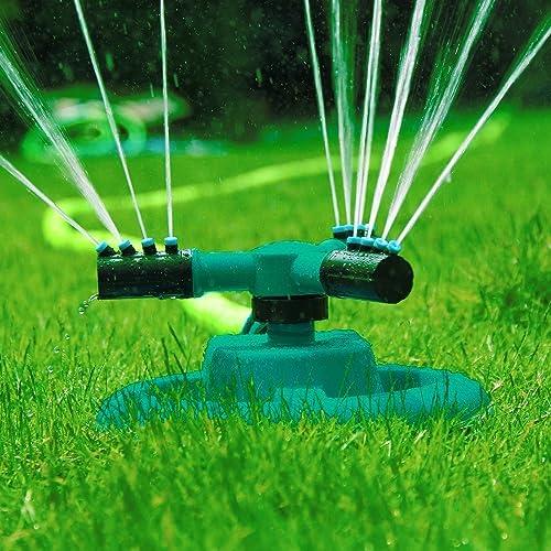 Garden Sprinkler- Automatic Lawn Water Sprinkler 360 Degree 3- Arm Rotating Sprinkler System