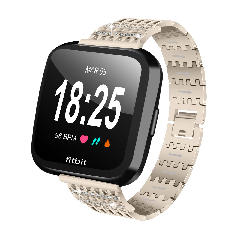For Fitbit VersaバンドWoman & Man ruentech豪華なブレスレットwith Bling BlingラインストーンStainessスチールメタルバンドfor Fitbit VersaアルミSmartwatch B07BHJZT84シャンパンゴールド