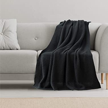 Bedsure Knitted Throw Blanket for Sofa and Couch - Lightweight, Soft & Cozy Knit Throws - Black, 50 x60