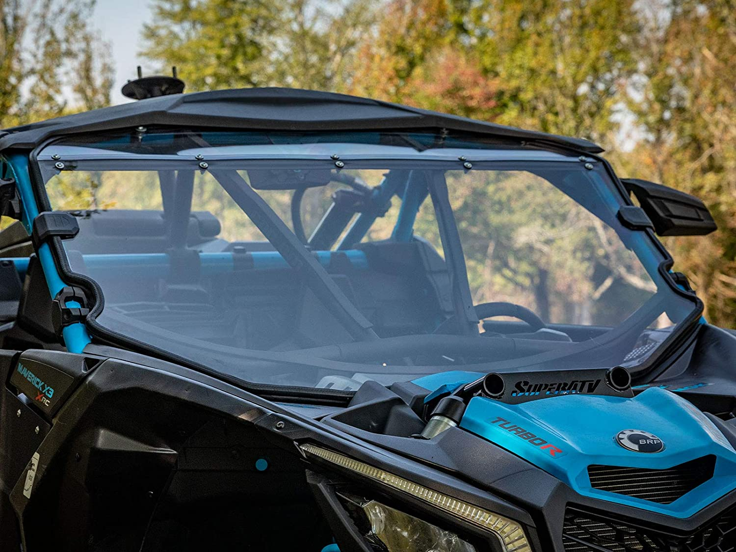 2017+ SuperATV Heavy Duty Scratch Resistant Full Windshield for Can-Am Maverick X3 900 For Use With Intrusion Bar Turbo//X RC//X RS//X DS//X MR//MAX