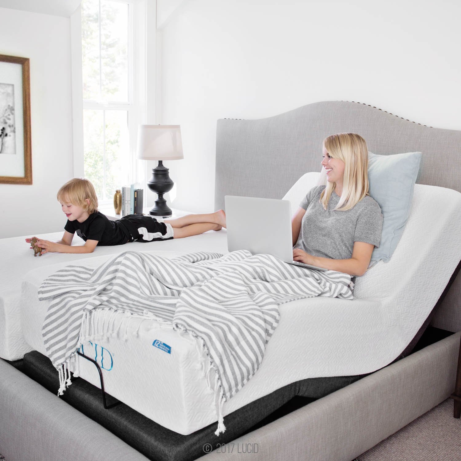 LUCID L300 Adjustable Bed Base 5 Minute Assembly Dual USB Charging Stations  Head And Foot Incline Wireless Remote Control Upholstered Ergonomic, Twin  XL, ...