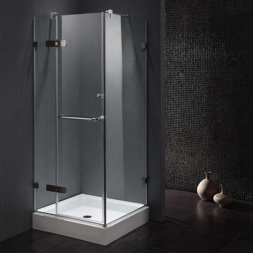 VIGO Monteray 36 X 36 In. Frameless Shower Enclosure With .375 In. Clear  Glass And Chrome Hardware (Shower Base Included)   Single Frames    Amazon.com